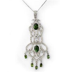 7.65 CTW Green Tourmaline & Diamond Necklace 18K White Gold - REF-289Y3K - 11174