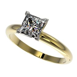 1.25 CTW Certified VS/SI Quality Princess Diamond Solitaire Ring 10K Yellow Gold - REF-372Y3K - 3291