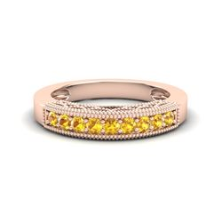 0.50 CTW Yellow Sapphire Band Love Me Art Deco Ring 10K Rose Gold - REF-17T6M - 20815