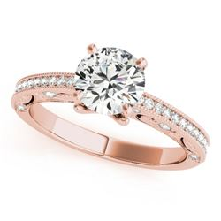 0.75 CTW Certified VS/SI Diamond Solitaire Antique Ring 18K Rose Gold - REF-129M8H - 27373