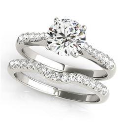 0.98 CTW Certified VS/SI Diamond Solitaire 2Pc Wedding Set 14K White Gold - REF-129T5M - 31574