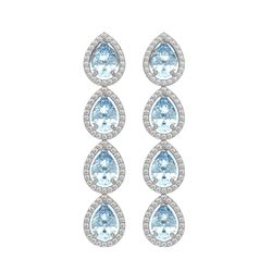7.41 CTW Aquamarine & Diamond Halo Earrings 10K White Gold - REF-169A6X - 41162