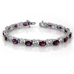 9.55 CTW Amethyst & Diamond Bracelet 14K White Gold - REF-96W9F - 10195