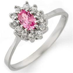 0.60 CTW Pink Sapphire & Diamond Ring 18K White Gold - REF-39A3X - 11287