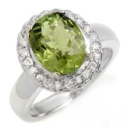 3.40 CTW Green Tourmaline & Diamond Ring 10K White Gold - REF-86W2F - 10482