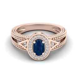 0.83 CTW Sapphire & VS/SI Diamond Solitaire Halo Fashion Ring 10K Rose Gold - REF-26A8X - 20840