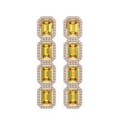 11.18 CTW Fancy Citrine & Diamond Halo Earrings 10K Rose Gold - REF-147Y5K - 41469