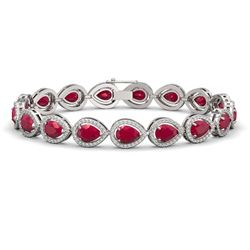 21.69 CTW Ruby & Diamond Halo Bracelet 10K White Gold - REF-315N5Y - 41093