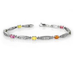 3.07 CTW Multi-Sapphire & Diamond Bracelet 10K White Gold - REF-40H9A - 13853