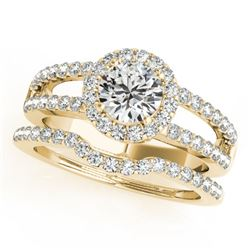 1.51 CTW Certified VS/SI Diamond 2Pc Wedding Set Solitaire Halo 14K Yellow Gold - REF-228N9Y - 30881