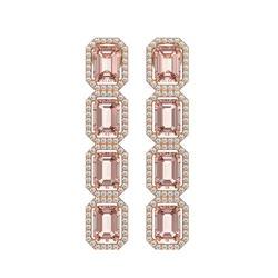10.73 CTW Morganite & Diamond Halo Earrings 10K Rose Gold - REF-272A5X - 41439