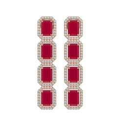 12.33 CTW Ruby & Diamond Halo Earrings 10K Rose Gold - REF-168F2N - 41430