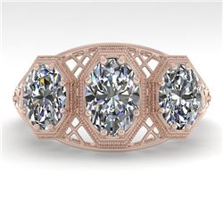 2 CTW Past Present Future VS/SI Oval Cut Diamond Ring 18K Rose Gold - REF-421F6N - 36065