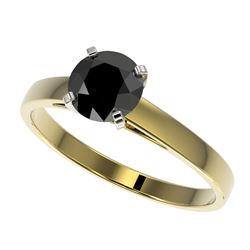 1 CTW Fancy Black VS Diamond Solitaire Engagement Ring 10K Yellow Gold - REF-28X3T - 32986