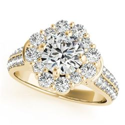 2.81 CTW Certified VS/SI Diamond Solitaire Halo Ring 18K Yellow Gold - REF-657K2W - 26714