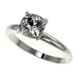 1.25 CTW Certified VS/SI Quality Cushion Cut Diamond Solitaire Ring 10K White Gold - REF-372F3N - 32