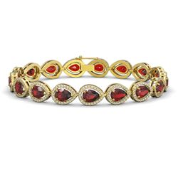 17.44 CTW Garnet & Diamond Halo Bracelet 10K Yellow Gold - REF-272X2T - 41137