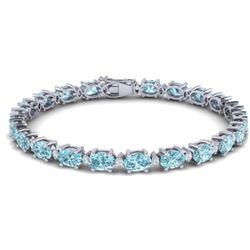 19.7 CTW Sky Blue Topaz & VS/SI Certified Diamond Eternity Bracelet 10K White Gold - REF-98H2A - 293