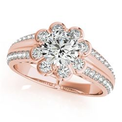 1.5 1.50 CTW Certified VS/SI Diamond Solitaire Halo Ring 18K Rose Gold - REF-398X8T - 27034