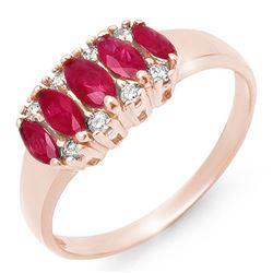 0.77 CTW Ruby & Diamond Ring 18K Rose Gold - REF-37X3T - 12336