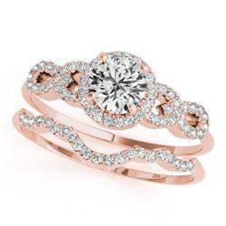 1.43 CTW Certified VS/SI Diamond Solitaire 2Pc Wedding Set 14K Rose Gold - REF-372F4N - 31995
