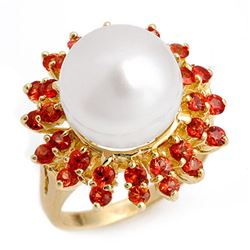 1.50 CTW Red Sapphire & Pearl Ring 10K Yellow Gold - REF-54K9W - 10444