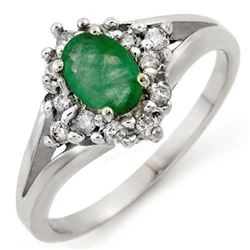 0.85 CTW Emerald & Diamond Ring 10K White Gold - REF-29K6W - 10272