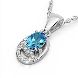 1.25 CTW Sky Blue Topaz & Micro Pave VS/SI Diamond Necklace 10K White Gold - REF-19W6F - 22344