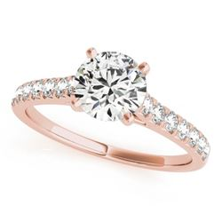 1 CTW Certified VS/SI Diamond Solitaire Wedding Ring 18K Rose Gold - REF-149F3N - 27586