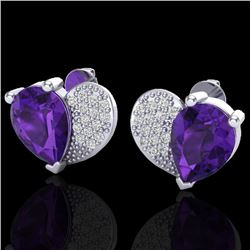 2.50 CTW Amethyst & Micro Pave VS/SI Diamond Earrings 10K White Gold - REF-30H2A - 20064