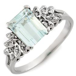 2.12 CTW Aquamarine & Diamond Ring 10K White Gold - REF-26W9F - 11265