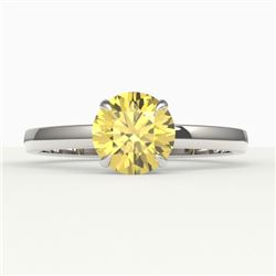 2 CTW Citrine Designer Inspired Solitaire Engagement Ring 18K White Gold - REF-30X4T - 22218