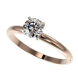 0.78 CTW Certified H-SI/I Quality Diamond Solitaire Engagement Ring 10K Rose Gold - REF-118K2W - 363