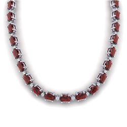 46.5 CTW Garnet & VS/SI Certified Diamond Eternity Necklace 10K White Gold - REF-218T2M - 29424