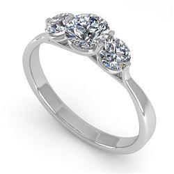1 CTW Past Present Future Certified VS/SI Diamond Ring Martini 14K White Gold - REF-110K4W - 38344