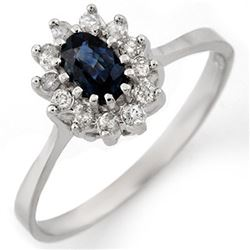 0.60 CTW Blue Sapphire & Diamond Ring 14K White Gold - REF-27F5N - 11133