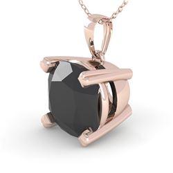 3 CTW Cushion Black Diamond Designer Necklace 14K Rose Gold - REF-79X6T - 38439