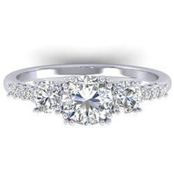 1.5 CTW Certified VS/SI Diamond Art Deco 3 Stone Ring 14K White Gold - REF-215T3M - 30459