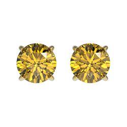 1.08 CTW Certified Intense Yellow SI Diamond Solitaire Stud Earrings 10K Yellow Gold - REF-116Y3K -