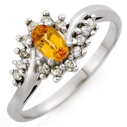 0.55 CTW Yellow Sapphire & Diamond Ring 18K White Gold - REF-36H4A - 10277