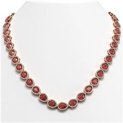 35.13 CTW Tourmaline & Diamond Halo Necklace 10K Rose Gold - REF-723M3H - 41061