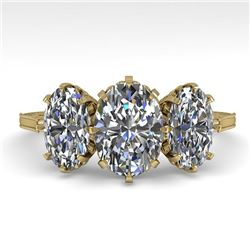 2 CTW Solitaire Past Present Future VS/SI Oval Cut Diamond Ring 18K Yellow Gold - REF-414M2H - 35782