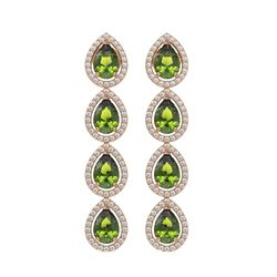 7.88 CTW Tourmaline & Diamond Halo Earrings 10K Rose Gold - REF-178H5A - 41160