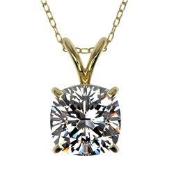 1.25 CTW Certified VS/SI Quality Cushion Cut Diamond Necklace 10K Yellow Gold - REF-423H3A - 33219