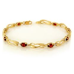 2.02 CTW Garnet & Diamond Bracelet 10K Yellow Gold - REF-26H2A - 10549