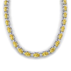 46.5 CTW Citrine & VS/SI Certified Diamond Eternity Necklace 10K White Gold - REF-226Y2K - 29419
