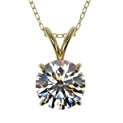 1.26 CTW Certified H-SI/I Quality Diamond Solitaire Necklace 10K Yellow Gold - REF-240F2N - 36775