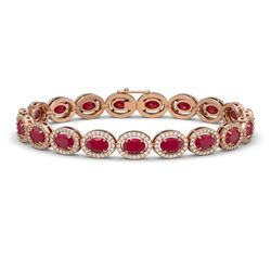 15.2 CTW Ruby & Diamond Halo Bracelet 10K Rose Gold - REF-255X3T - 40455