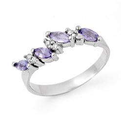 0.75 CTW Tanzanite & Diamond Ring 18K White Gold - REF-35K5W - 13004
