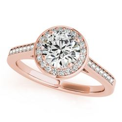 0.75 CTW Certified VS/SI Diamond Solitaire Halo Ring 18K Rose Gold - REF-132A8X - 26357